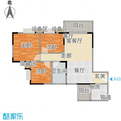 金秋家园户型3室1厅1卫1厨