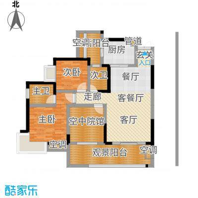 丽水菁苑栖景湾91.88㎡丽水菁苑三期双卫户型