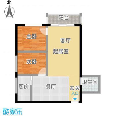 新天地公寓户型2室1卫1厨