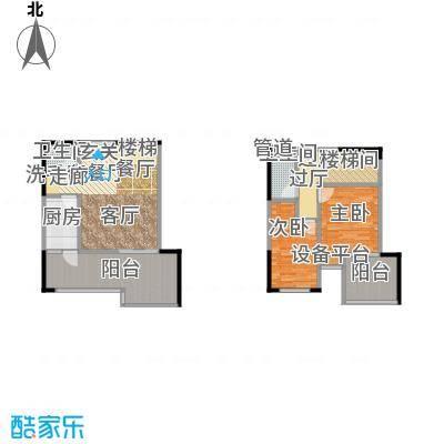 财信・城市国际城市国际财信99度商业街88.48㎡财信城市国际一期5号楼标准层D户型