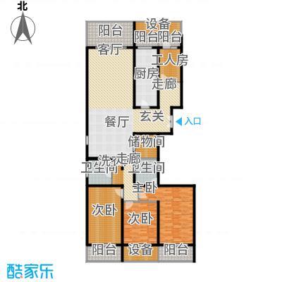 中华家园户型3室1厅2卫1厨