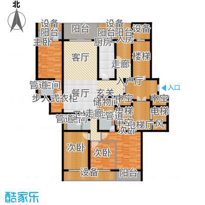 中华家园户型4室1厅3卫1厨