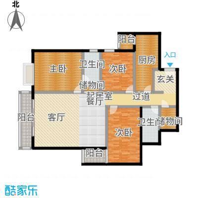 天天家园153.26㎡三居室户型