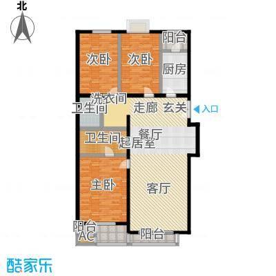 天天家园153.92㎡三居室户型
