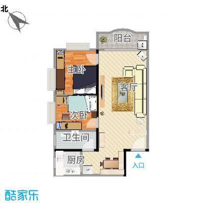 江湾花苑72方两房一厅_改造第一版