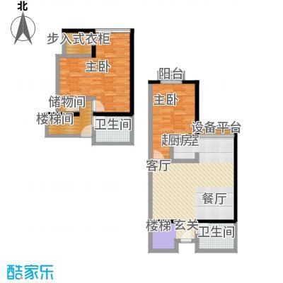 金桥国际公寓户型2室2卫