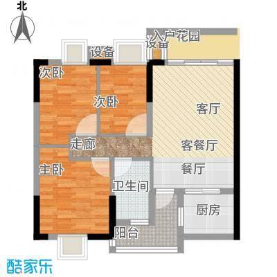 天马河公馆2期M13栋04户型3室1厅1卫1厨