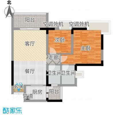 俊峰龙凤云洲户型2室1厅2卫1厨
