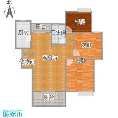 吴中豪景华庭B2户型3室1厅1卫1厨