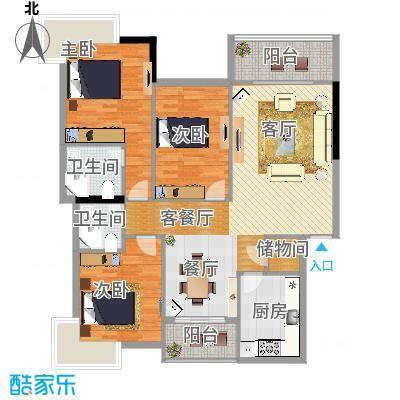 滨河苑B1户型3室1厅2卫1厨