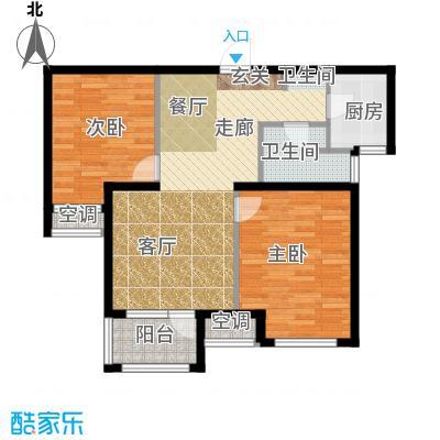 荣盛白鹭岛78.57㎡一期3号楼4号楼B户型