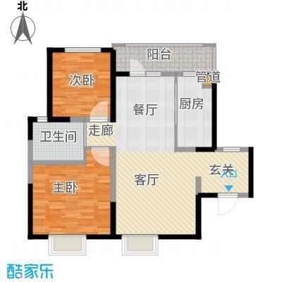 锦绣香江水城90.00㎡一期6-8号楼01、04单元标准层2室户型