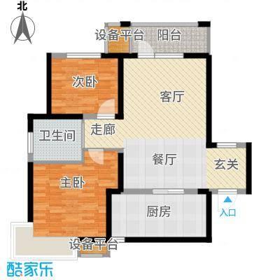 锦绣香江水城90.00㎡高层标准层2居户型