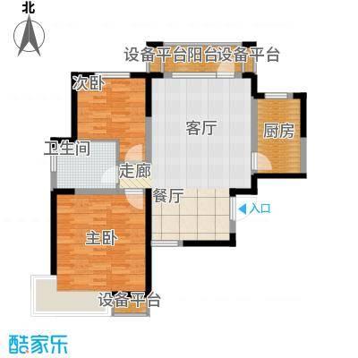 锦绣香江水城90.00㎡一期1-5号楼01、04单元标准层2室户型
