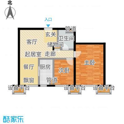 京投银泰万科西华府81.72㎡3#、6#楼B4户型