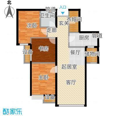 富力新城92.00㎡一期高层3居户型