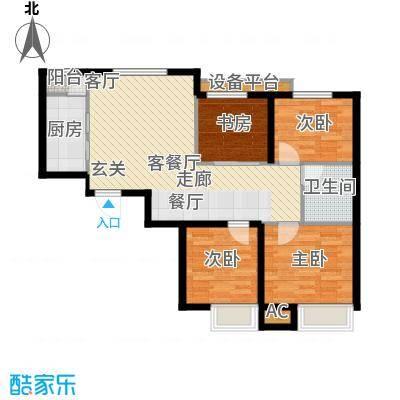 京汉铂寓118.73㎡2-D户型