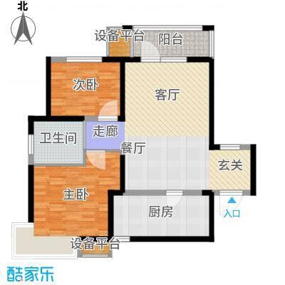 锦绣香江水城90.00㎡一期13、15、16号楼01、04单元标准层2室户型