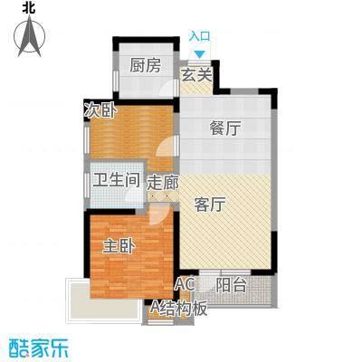 锦绣香江水城90.00㎡一期6-8号楼02、03单元标准层2室户型
