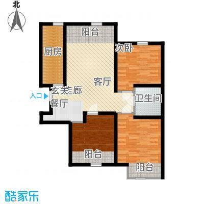 紫辰悦府93.00㎡一期1、2、3号楼M`户型