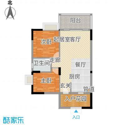 山水绿世界86.71㎡10号楼2单元标准层06号房2室户型