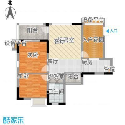 山水绿世界86.76㎡10号楼2单元标准层05号房2室户型