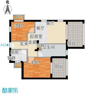 长滩雨林81.00㎡花园洋房2D户型