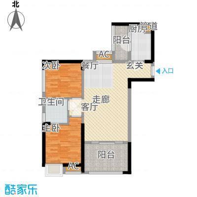 中铁城锦南汇78.00㎡一期1号楼、3号楼标准层D/D1户型