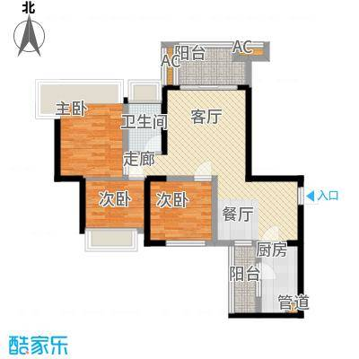 中铁城锦南汇87.00㎡一期1号楼、3号楼标准层K户型