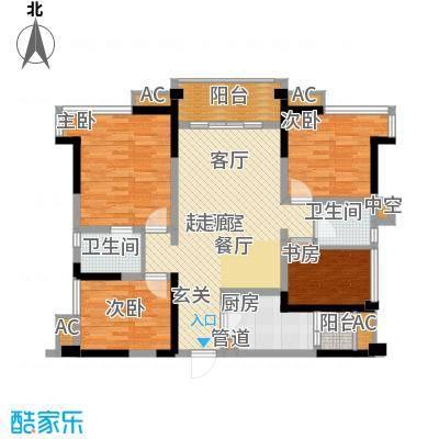 保利锦湖林语113.00㎡一期1、12号楼标准层B1户型