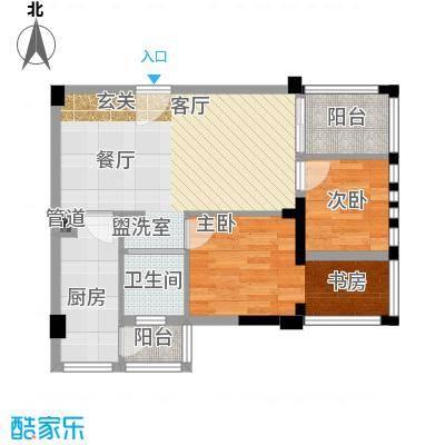 神仙树缤纷64.00㎡一期1、2、3、4号楼标准层C6户型