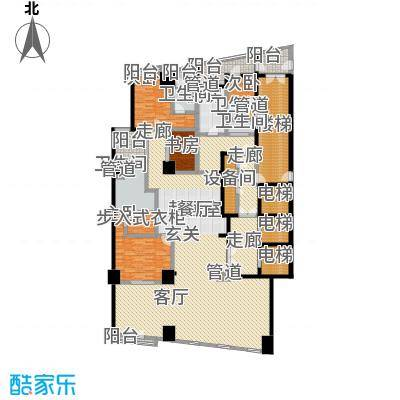 成都银泰中心华悦府289.00㎡一期5号楼标准层A3户型