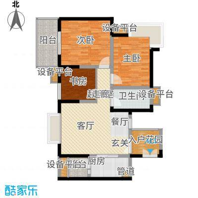 汇锦城98.00㎡一期3号楼标准层E2【售罄】户型