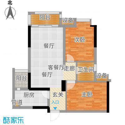 龙湖时代天街75.00㎡一期1号楼标准层A3户型