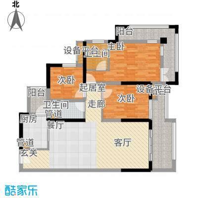 中德英伦联邦89.00㎡B区16、17、18号楼标准层F户型