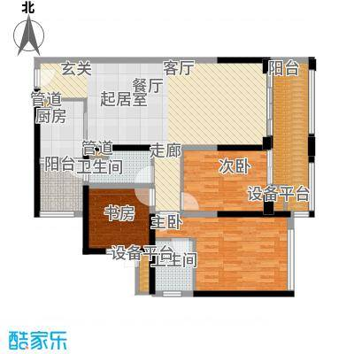 中德英伦联邦89.00㎡B区16、17、18号楼标准层S户型
