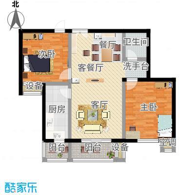 青塔东里小区109.46㎡两室两厅一卫户型