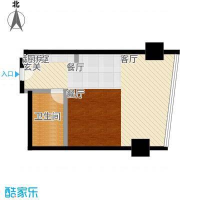 成都银泰中心华悦府76.00㎡一期1号楼标准层C户型