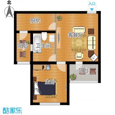 首创光和城59.00㎡F户型1室2厅1卫