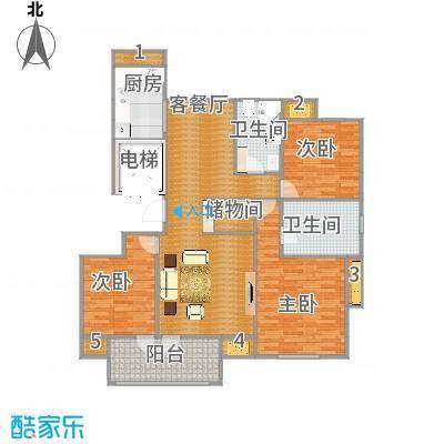理想之城锦兰园E2-4户型3室1厅2卫1厨
