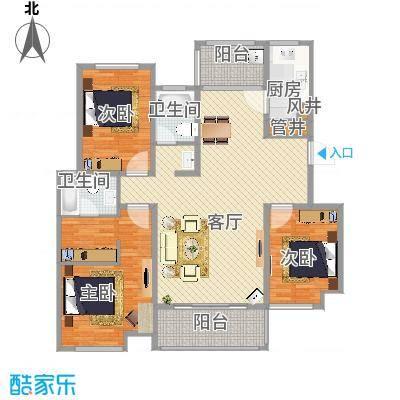 绿地中央花园C1户型3室1厅2卫1厨