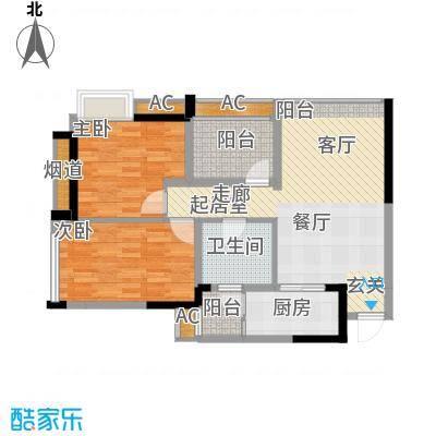 泽胜依山郦景86.91㎡一期2号楼标准层1号房户型