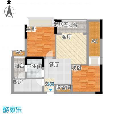 泽胜依山郦景75.50㎡一期2号楼标准层4号房户型
