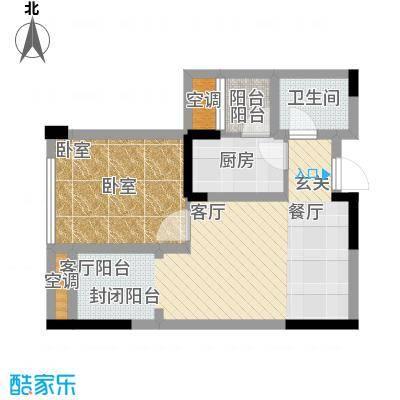 泽胜依山郦景54.70㎡一期1号楼标准层12号房户型