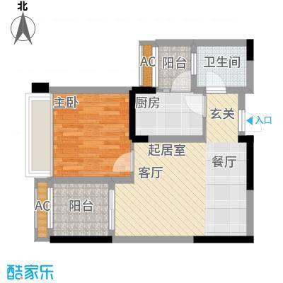 泽胜依山郦景54.56㎡一期2号楼标准层12号房户型