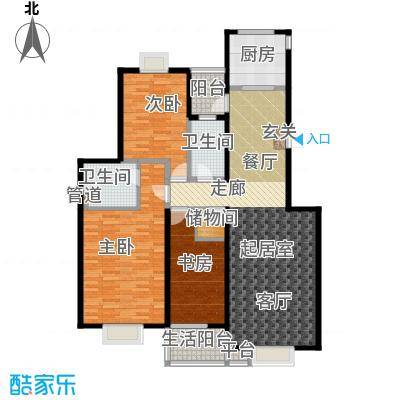 攀华未来城128.00㎡二期14-16号楼标准层A1号房户型
