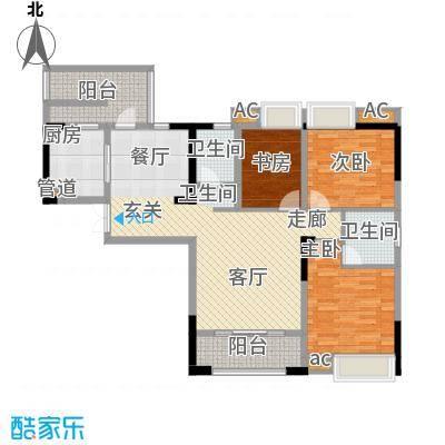 海怡天西城华府115.42㎡五期4、5号楼标准层1号房户型