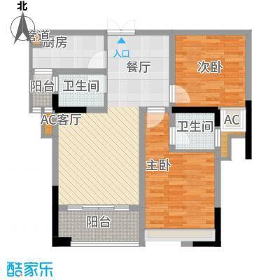 海怡天西城华府82.57㎡五期4、5号楼标准层2号房户型