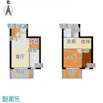 浦江智汇园90.00㎡复式1号楼2F面积9000m户型
