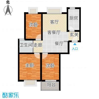 万邦都市花园108.38㎡上海五期面积10838m户型